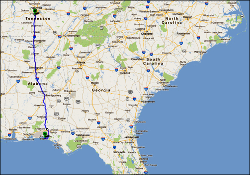 Destin, Florida to Franklin, Tennessee
