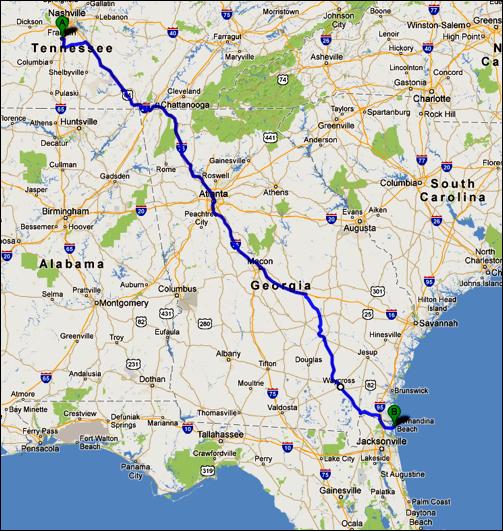 Franklin, Tennessee to Amelia Island, Florida