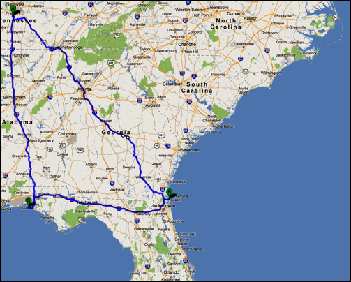 Franklin, Tennessee to Amelia Island, Florida to Destin, Florida to Franklin, Tennessee